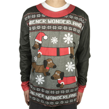 Tacky Wiener Wonderland Printed Ugly Christmas T Shirt for Men Cute Dog Shirts Funny Xmas Holiday Tee Plus Size