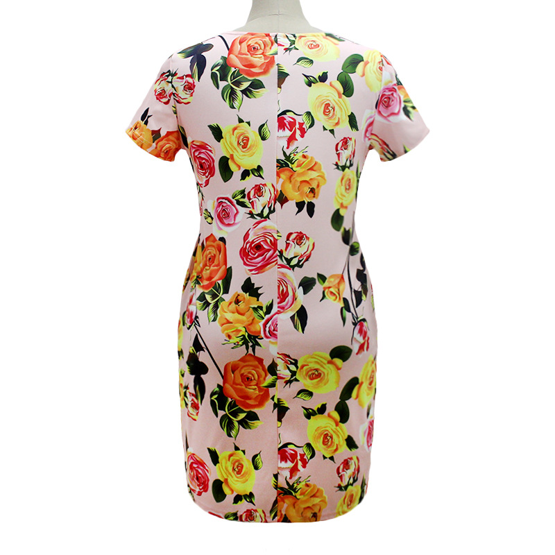 HTB1CkOLXnzGK1JjSspkq6xNUpXaX 2019 Autumn Plus Size Dress Europe Female Fashion Printing Large Sizes Pencil Midi Dress Women's Big Size Clothing 6XL Vestidos