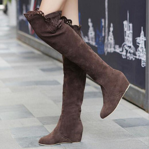 Image 3 - Faux Suede Slim Boots Sexy over the knee high women snow boots girls sweet winter autumn thigh high boots lace flower shoes