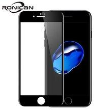 RONICAN cristal templado curvo completo para iPhone 7, 6, 6s Premium, película de fibra de carbono 9H, Protector de pantalla completo