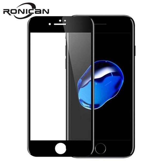 Ronican 3d 전체 곡선 강화 유리 애플 아이폰 7 6 6s 프리미엄 진짜 9 h 탄소 섬유 필름 전체 화면 커버 수호자