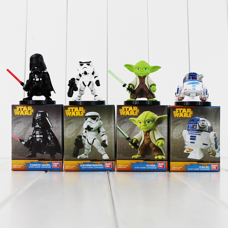 4-6cm 4Pcs/Lot Star Wars Darth Vader Yoda R2-D2 Robot Stormtrooper PVC Action Figures Model Collection Toys Great Gift for Kids
