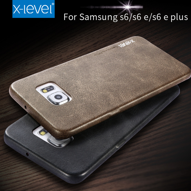lowest price 9d20b 7f430 US $7.87 15% OFF|X Level Vintage Leather Phone Case For Samsung Galaxy S6  Edge Plus Ultra thin Retro Phone Back Cover For S6 Edge Leather Cover-in ...