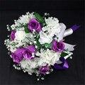 Элегантный Невесты Цветок Свадебный Букет Искусственный Buquet noivas Ручной Цветы Розы Свадебные Букеты Брошь с Лентой