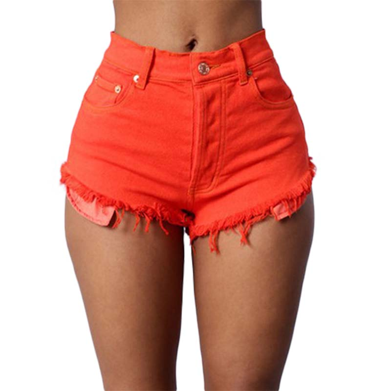 Summer Multicolor Tight Women High Waist Denim Shorts Women Color Sexy Hot Loose Thin Tight Denim High Waist Shorts For Women