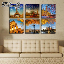 FULLCANG 6pcs diy 5d diamond embroidery sale tower & bus mazayka autumn landscape painting full square/round drill FC909