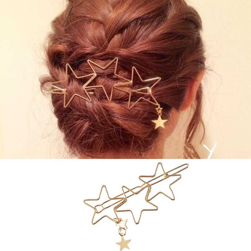 Shuangshuo Unique Style Hairpin Hollow Stars Tassel Hair Clips Ornament Hair Accessories Star Hair Clip Pin Vintage Jewelry