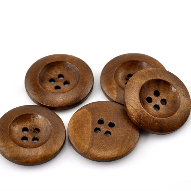20Pcs lot New Coffee Round 4 Holes Flatback Wood Sewing Buttons 25mm DIY Wooden Crafts Clothes Coat Scrapbooking Making Findings in Buttons from Home Garden