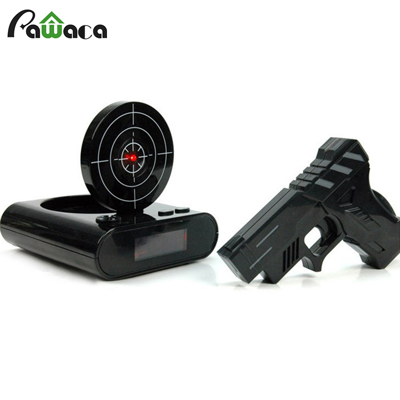 1 Set Gun Alarm Clock Shoot Alarm Clock Recordable Gadget Target Desktop Digital Bedside Snooze Table Alarm Clocks Creative Gift