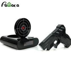 1 Set Gun Alarm Clock Shoot Alarm Clock Recordable Gadget Target Desktop Digital Bedside Snooze Table Alarm Clocks Creative Gift