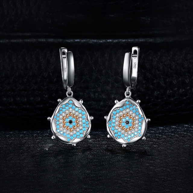 Nano Simulated Turquoise Drop Earrings