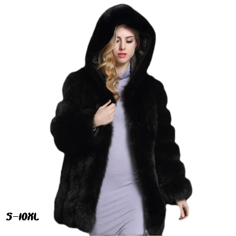 Women's Fur Coat Winter 2018 Fashion New Thick Hats Winter Jacket Warm Artificial Fur Coat High Quality Imitation Fox Coat