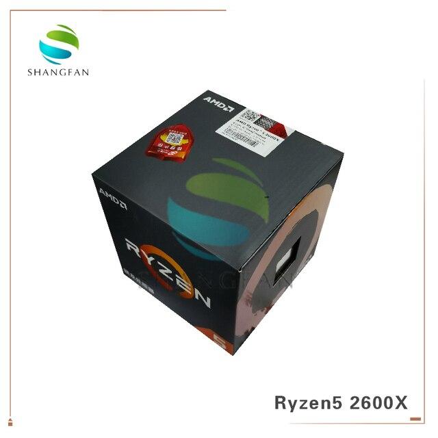 New Box CPU AMD Ryzen5 2600X R5 2600X 3.6 GHz Six Core Twelve Thread 95W CPU Processor YD260XBCM6IAF Socket AM4 With cooler fan