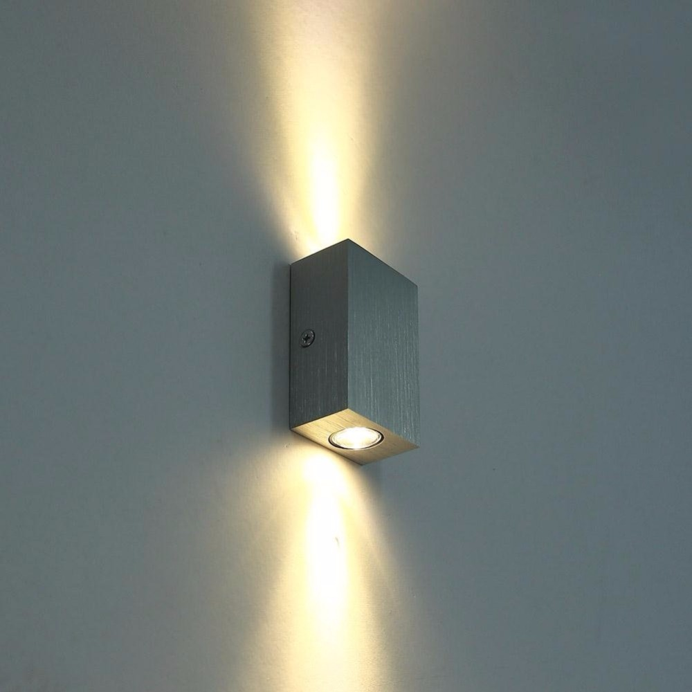1pce 2W Double Luminous Aluminum LED Wall Lamp Light Fixture Wall Sconce Porch Brus for Bath Bedroom Living Room Hallway Stair
