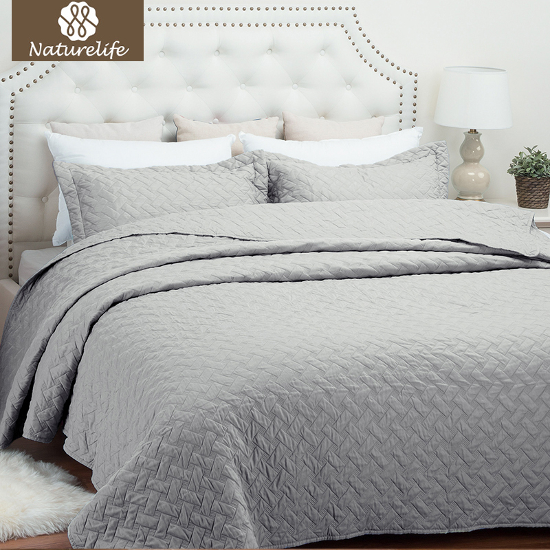 Naturelife Solid Color Quilt Set Bedspread Bed Cover Quilted Bedding Set Duvet Cover Pillowcase