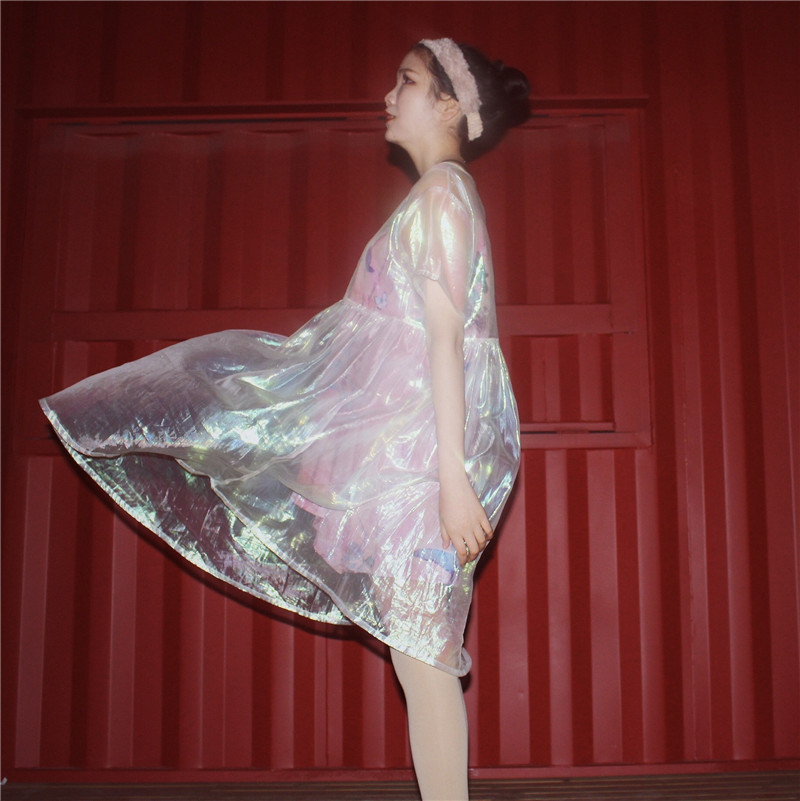 Silver Holographic Women Dress Clothes Laser Hologram Foil Fabric Beach  Dress See Through Mesh Dresses-in Dresses from Women s Clothing on  Aliexpress.com ... 54f9e4b65ade