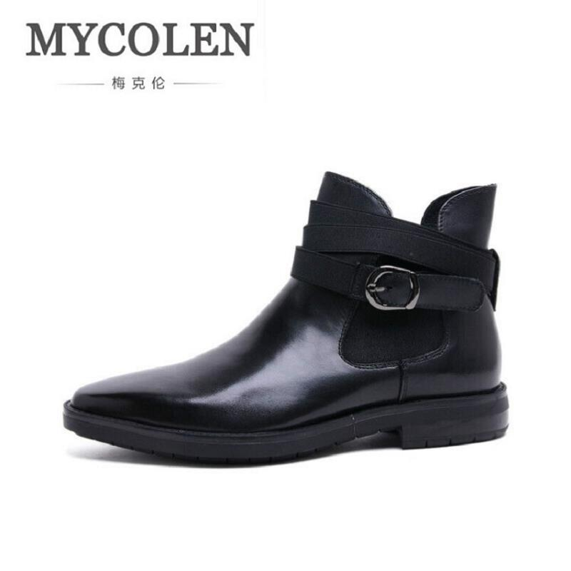 MYCOLEN High Quality Genuine Leather Men Boots Winter Comfortable Black Buckle Man Shoes Ankle Male Wine Red Men's Boots homme [krusdan]british style men autumn winter boots solid casual genuine leather retro boots falts brand red wine male ankle boot