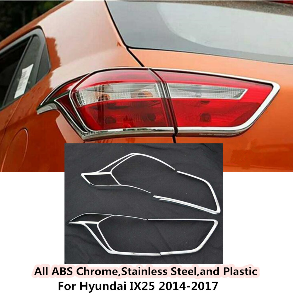 For Hyundai IX25 2014 2015 2016 2017 car rear back Light lamp hood Molding frame styling ABS Chrome cover trim moulding 4pcs