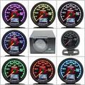 Gre ** y Prensa De Aceite Gauge Gauge 7 Luz de Colores Pantalla LCD Con voltaje Gauge Medidor de Presión de Aceite 2.5 Pulgadas Con Sensor de Carreras Greddi