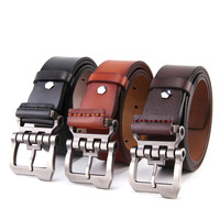 Mens Cow Genuine Leather Vintage Style Male Belts For Men Black And Brown Colors High Quality