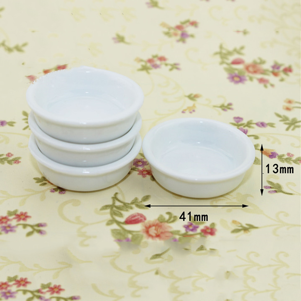 1Pcs 1/12 Dollhouse Miniature Accessories Mini Ceramic Soup Pot Simulation Food Dish Model Toys For Doll House Decoration