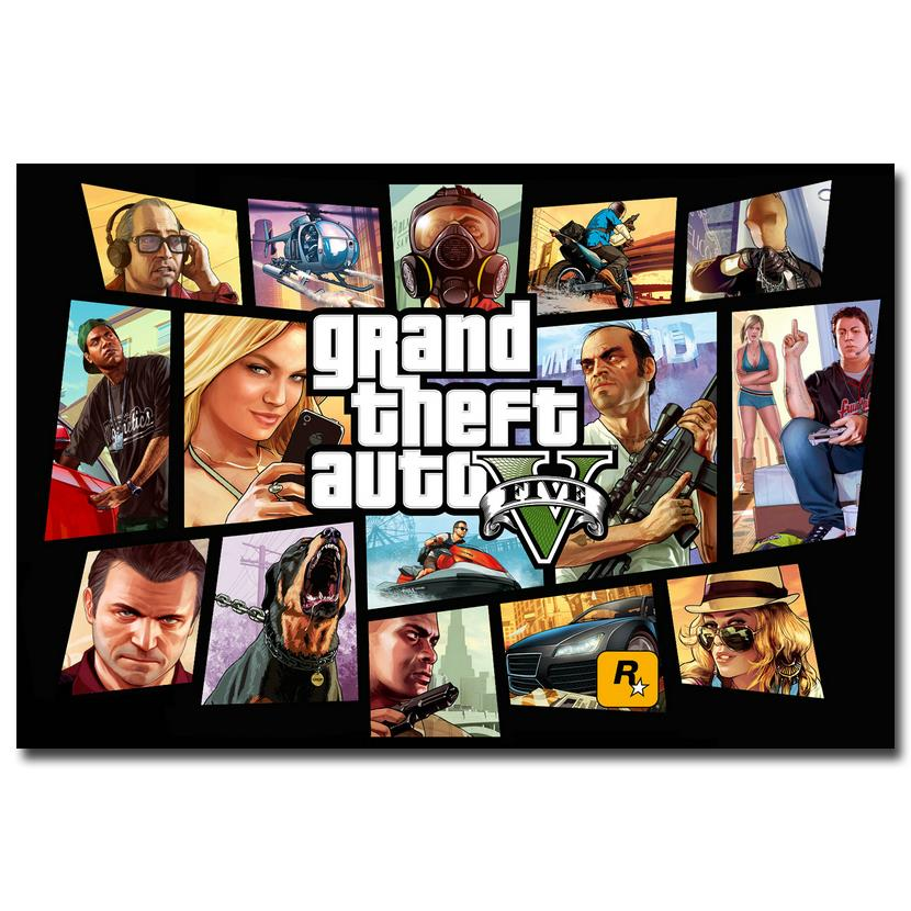NICOLESHENTING Grand Theft Auto V Game Art Silk Poster Huge Print 12x18 32x48 inches GTA 5 Wall Pictures For Living Room 22