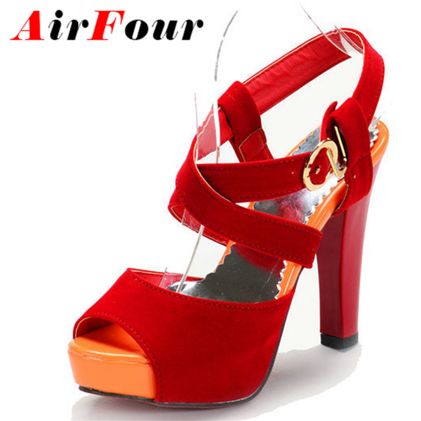 Airfour Spring Thick Heels Platform Sandals Female Black, Red Colors Ankle Strap Women Fashion Shoes Big Size 34-45