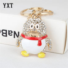 Penguin baby New Cute Crystal Charm Pendant Purse HandBag Car Key Ring Chain Wedding Party Delicate Gift(China)