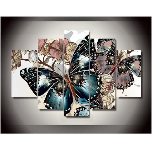 Abstract Floral Butterfly Canvas Painting Wall Art Prints Home Decor  Picture 5 Panels For Linving No