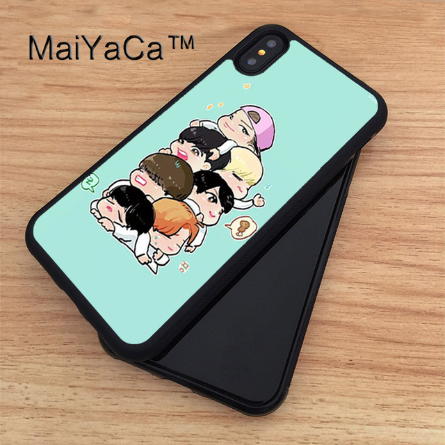 los angeles e1810 0741a US $4.28 5% OFF|MaiYaCa Bangtan Boys BTS Cartoon Soft Rubber Fitted Cases  For iPhone X Cover Bags Skin Shell For Apple iPhone X Case-in Fitted Cases  ...