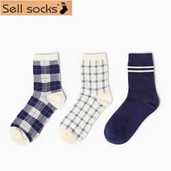 Новинка 2015 года; сезон осень-зима; английский коммерческий стиль; носки без пятки с большими квадратами; повседневные мужские и женские