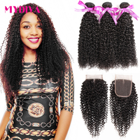 Kinky Curly Bundles With Closure Brazilian Weaves Human Hair 30 Inch Bundles With Closure Non Remy Hair Extensions Mydiva Hair