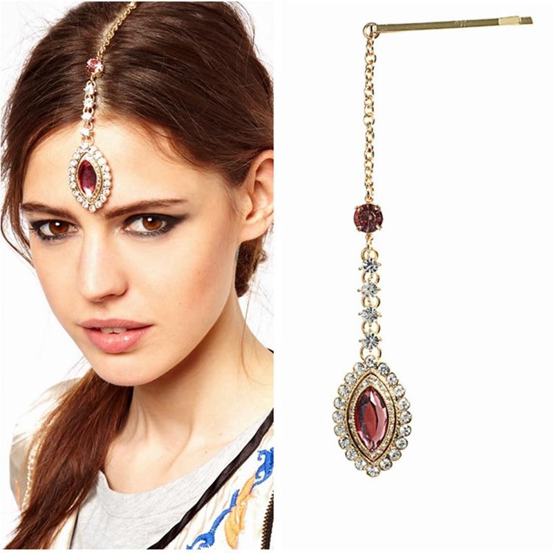 2 PCS Fashion Sparkling Crystal Rhinestone Forehead Headband Hairpin Clip Gold Hair Chain tikka headpiece Hair Jewelry For Women пандора браслет с шармами