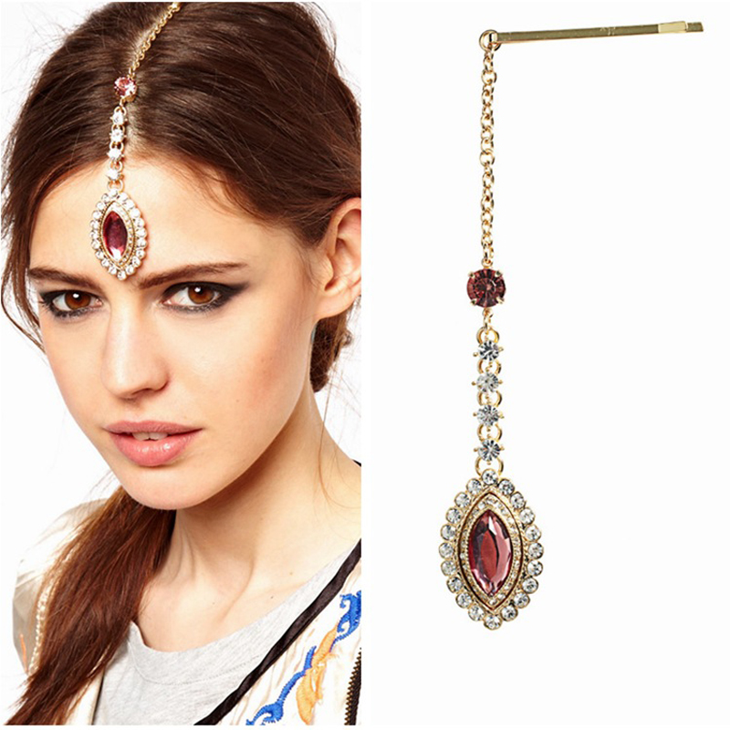 Sparkling Pink Crystal Forehead Headband Gold Rhinestone Hair Chain With Hairpin Tikka Headpiece Jewelry For Women In From
