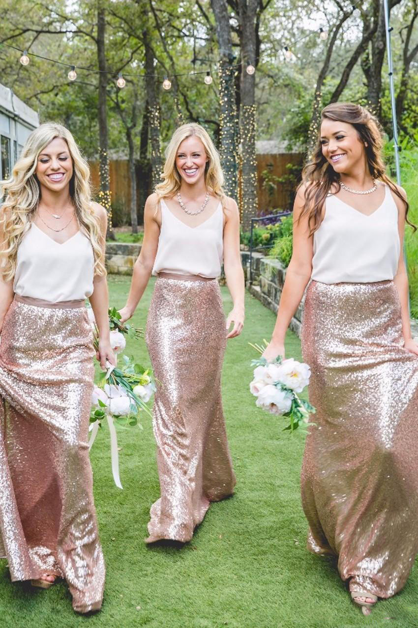 Two Tone Country Bridesmaid Dresses White and Rose Gold Sequins 2017 ...