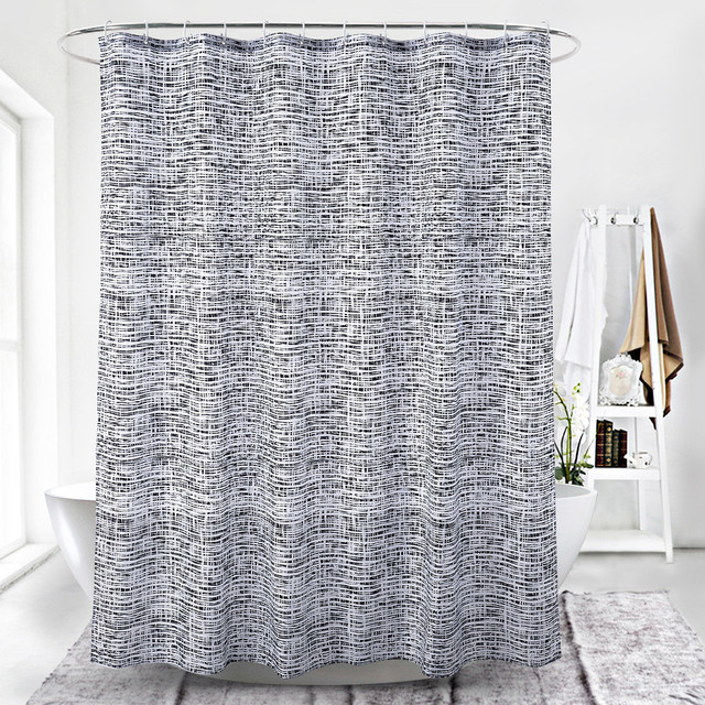 Durable Top Metal Grommets Polyester Fabric Bathroom Waterproof Black White Striped Shower Curtain With Plastic Hooks