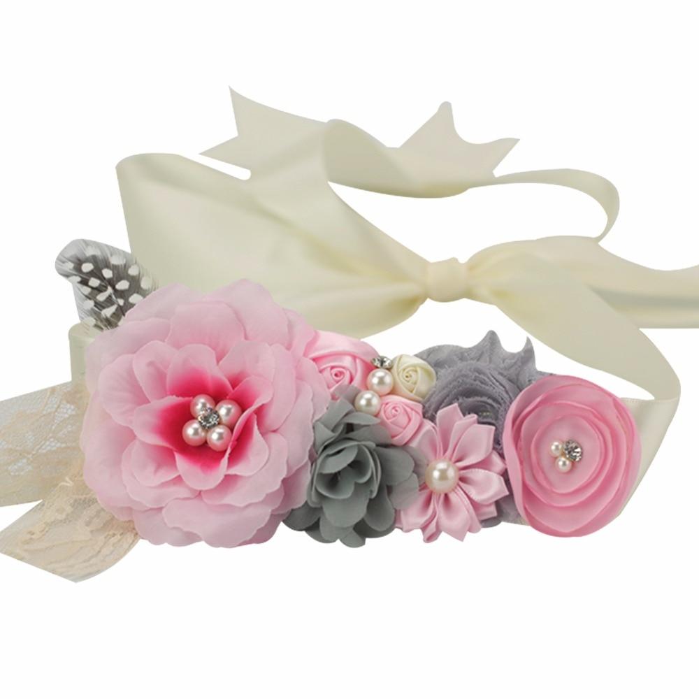 Pink Flower Sash Belt Bridesmaid Maternity Photo Prop Baby Girl Shower Ivory Shabby Flower Belt Bridal Wedding Accessories