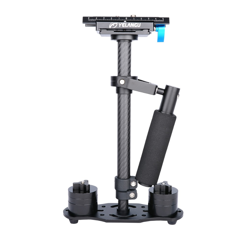 YELANGU 40CM/15.7'' Carbon Fiber Single Handheld Stabilizer for DSLR Camera with Quick Release Plate 1/4'' and 3/8''