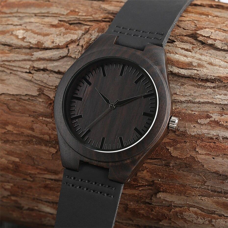 ebony watch wooden watch quartz mens black wood watches (4)