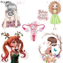 Prajna балерина для девочек Термотрансферная одежда Рубашки с принтом железные наклейки на одежду DIY мультфильм милый теплообмен F