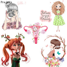 Prajna Ballerina Girl Thermal Transfer for Clothing Shirts Printed Iron on Stickers to Clothes DIY Cartoon Cute Heat F