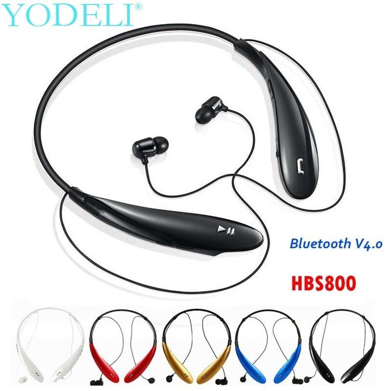 HBS-800 auricular inalámbrico deportes auriculares Bluetooth Wireless Headset con micrófono de banda para el cuello de manos libres auriculares para iPhone Xiaomi Hua