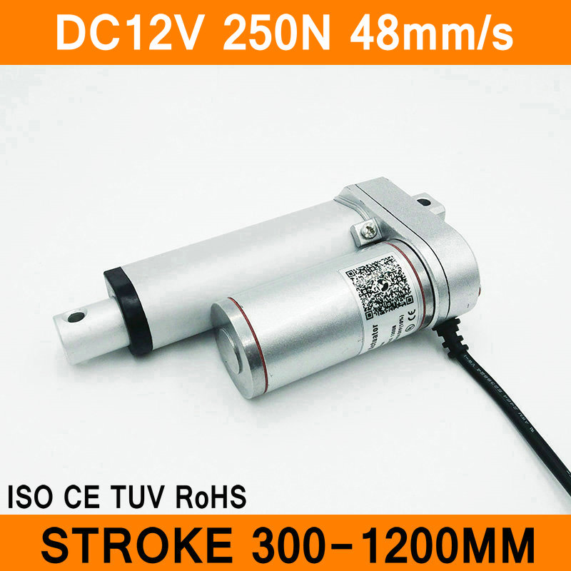 Linear Actuator 12V DC Motor 250N 48mm/s Stroke 300-1200mm Linear Electric Motor IP54 Aluminum Alloy Waterproof CE RoHS ISOLinear Actuator 12V DC Motor 250N 48mm/s Stroke 300-1200mm Linear Electric Motor IP54 Aluminum Alloy Waterproof CE RoHS ISO