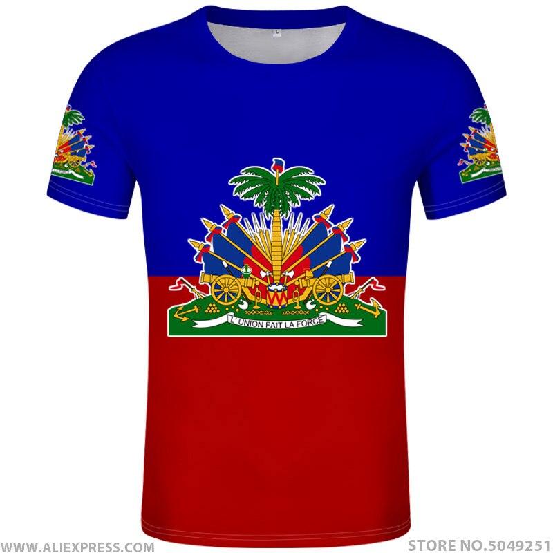 HAITI T Shirt Diy Free Custom Name Number Hti T-shirt Nation Flag Country Ht French Haitian Republic College Print Photo Clothes