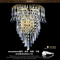 European Style Stainless Steel Wall Lamp Crystal Creative Simple Golden crysal wall lamp Living Room Bedroom Bedside light