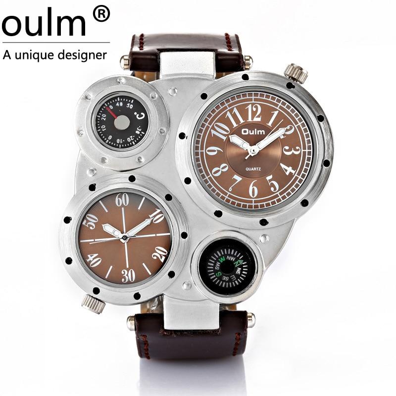 OULM движение кварцевые часы Компасы термометр просто украшение кожаный пояс спортивные часы