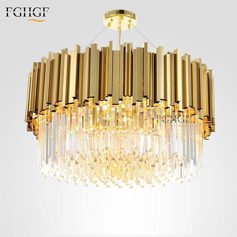 New Arrival Luxury Crystal Chandelier Light Modern Lighting for Living Dinning Room Round Golden Color Hanging LED lights