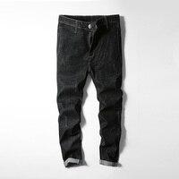 Black Jeans Men Pants Stretch Classic Ripped Jeans Men Hip Hop Slim Fit Trousers Boy Autumn