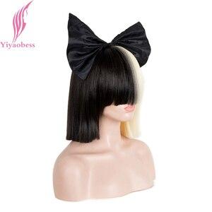 Image 3 - Yiyaobess 10 inç Sentetik Kısa ombre saç Kadın Düz SIA Peruk Cosplay Mix siyah ışık Altın Bob Peruk Için Parti