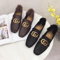 Free shipping fashion women black tan buckle fur inside mid heeled pumps shoes